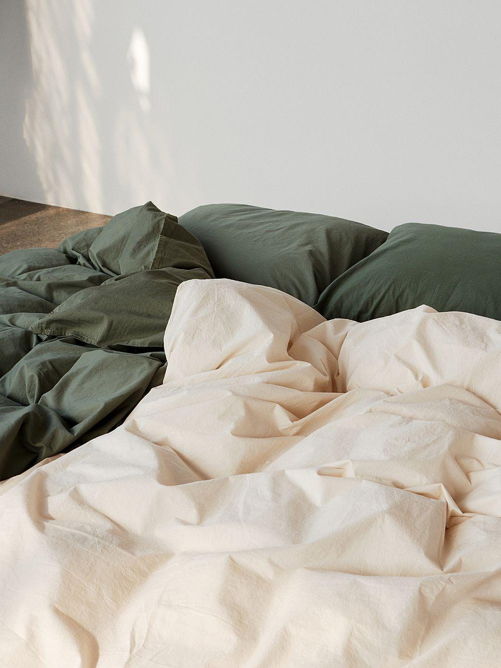 Tekla Single duvet cover, 150 x 210 cm, olive green