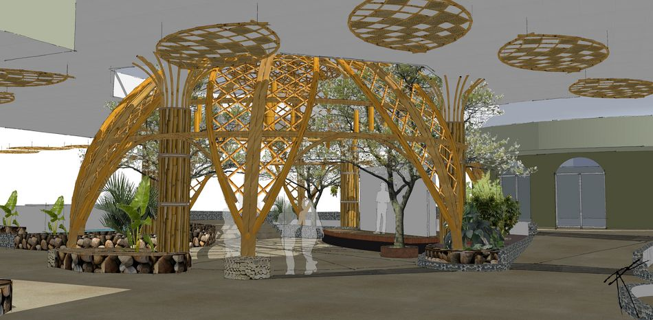 Konzeptstudie der Bambuskuppel im Market Dome von Limburgse Peel