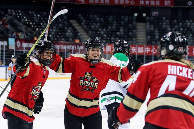 Annina Rajahuhta on kymmenessä pelaamassaan ottelussa tehnyt CWHL:ssä tehnyt tehot 3+6=9.