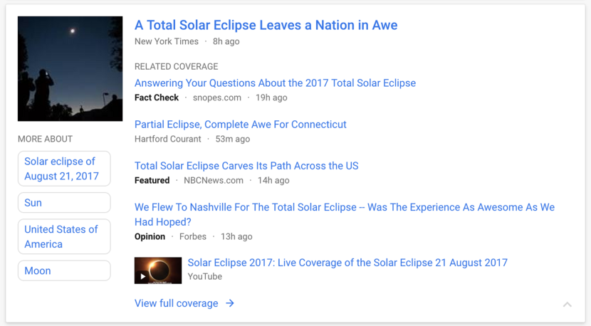 A screenshot of a news item on the Google News homepage.