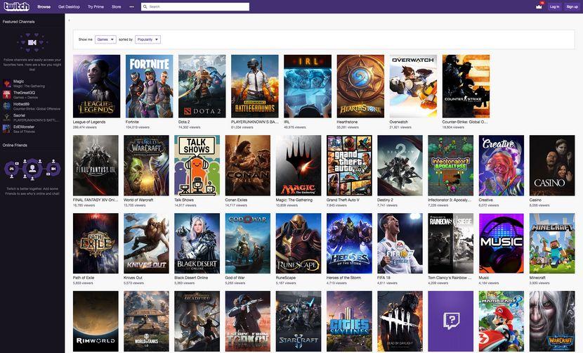 Screenshot of the Twitch.tv desktop user interface