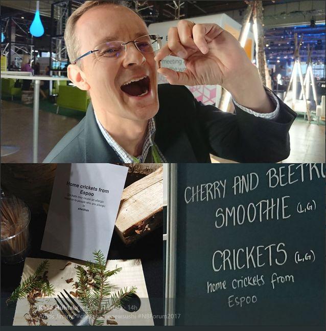 Seminaarin tarjoilut on myös suunniteltu lähiruoan ja kestävän kehityksen näkökulmasta. Tarjolla oli mm. maukasta espoolaista heinäsirkkaa. Aika rapeaa ja vähärasvaista!