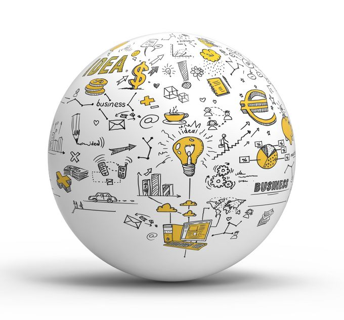 "A white ""globe"" covered with drawn business plans."