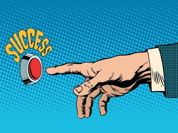 "A cartoon hand reachin for a button reading ""Success"""