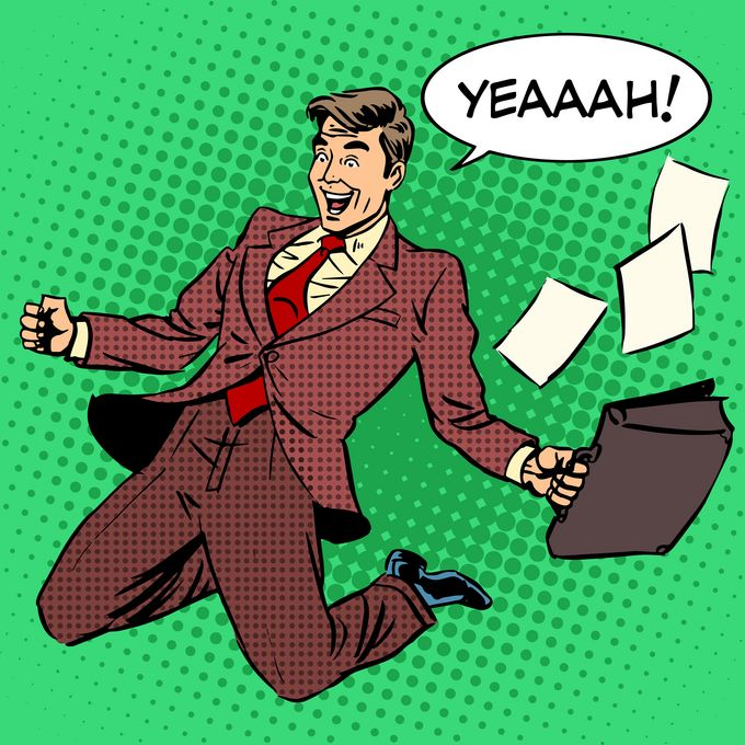"""A business man sliding on the ground winning, shoutin """"Yeaaah!"""", papers flying out of his briefcase."""