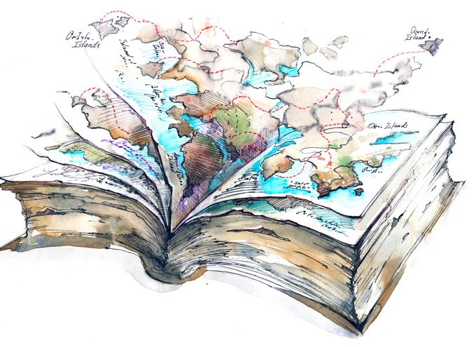 A drawing of and open book with the map of the world rising out of the pages.