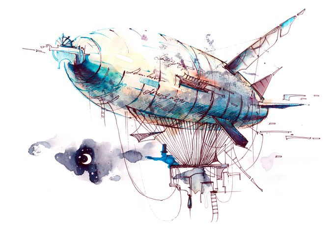 A colourful drawing of a blimp flying through the air, carrying a house.