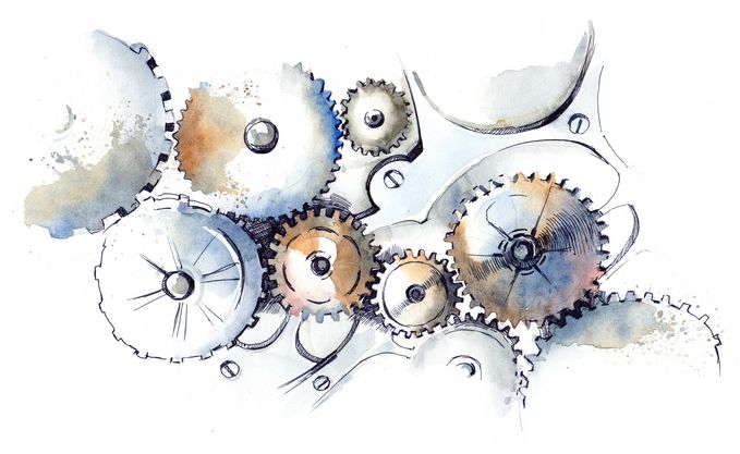 A drawing of a mechanism with cogwheels.