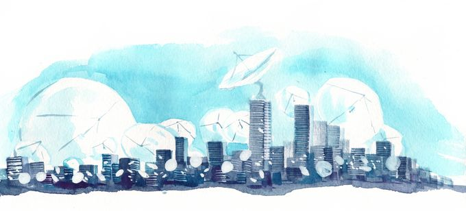 A drawing of a city skyline full of satellite antennas.