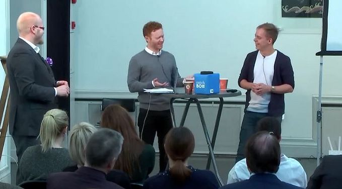 A screenshot of Daniel Goodall and Juhani Mykkänen beeing interviewd by Dingle's Juho Jokinen.