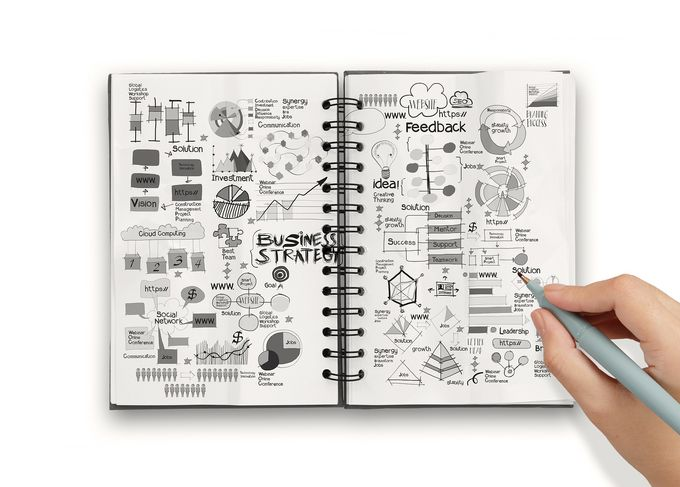 An open notebook full of drawn business plans.