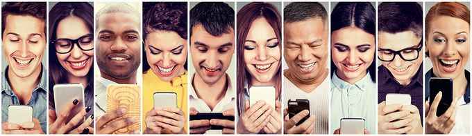 Ten different people with mobile phones, some looking happy, some surprised.