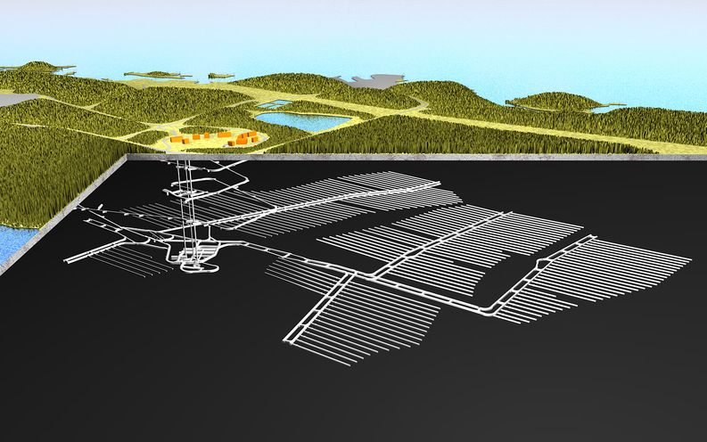 An illustration of Posiva's used nuclear fuel repository facility shows the extent of the underground construction site.