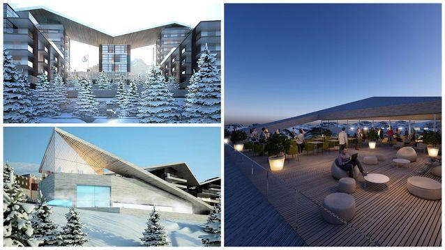 Immeubles de la 2ème tranche (en haut à gauche), espace aqualudique et de loisirs (2 autres photos)