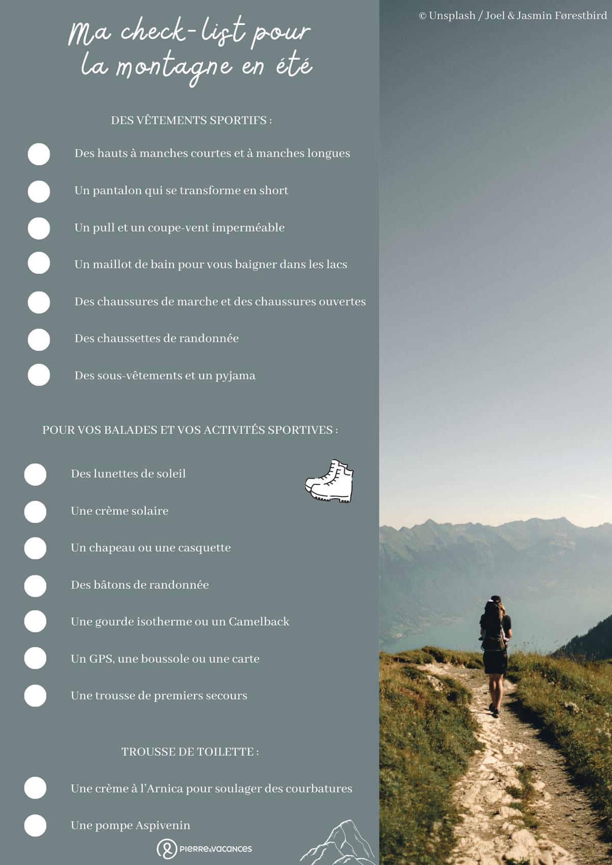 Check-list pour la montagne en été