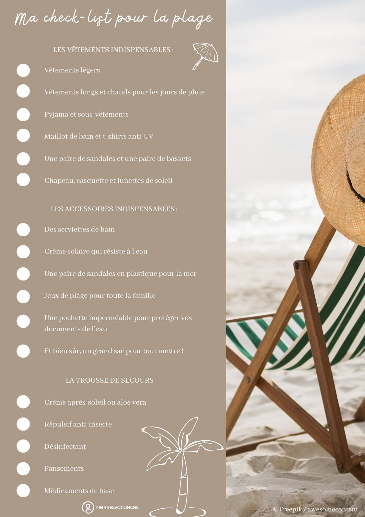 Check-list pour la plage