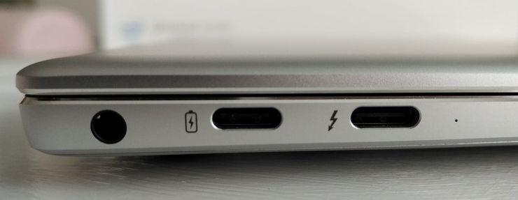 MateBook X Pron vasemmalla laidalla on kaksi USB-C-paikkaa ja kuulokeliitäntä.
