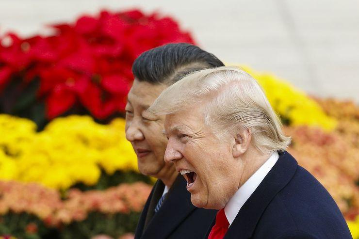 Kiinan presidentti Xi Jinping ja Yhdysvaltojen presidentti Donald Trump viime vuonna.