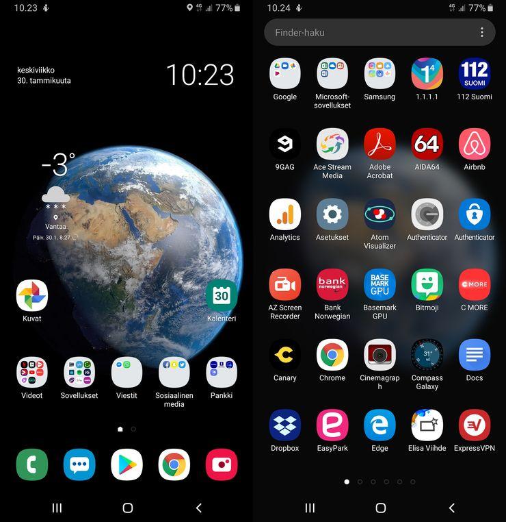 Samsungin One UI:n kotinäkymä ja sovellusvalikko.