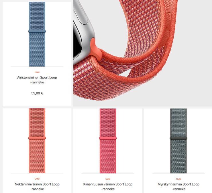 Uudet nailonista valmistetut Sport Loop -rannekkeet.