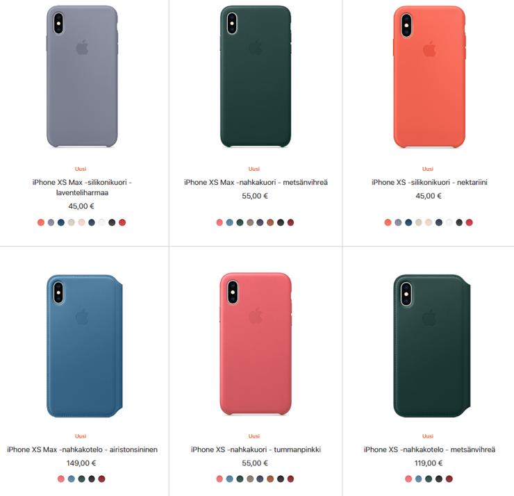 iPhone XS:n ja XS Maxin kuori- ja kotelovaihtoehtoja.