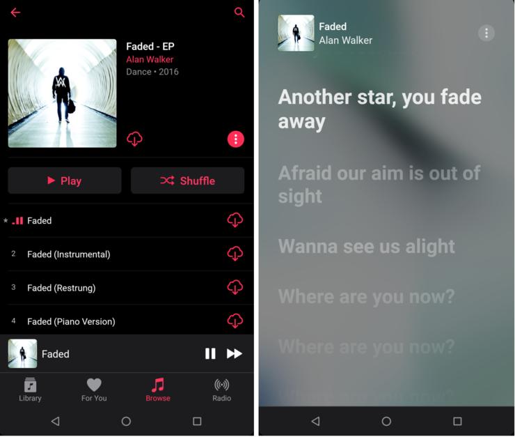 Live-sanoitukset näyttävät tältä. Kuva: AndroidPolice.