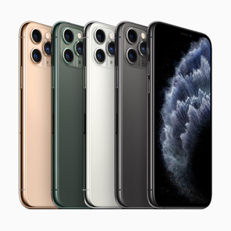 iPhone 11 Pron ja iPhone 11 Pro Maxin värivaihtoehdot.