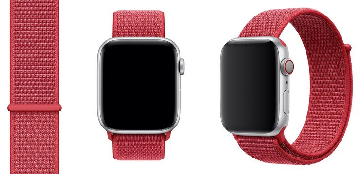 Aiempi punainen PRODUCT(RED) Sport Loop -ranneke Apple Watchille.