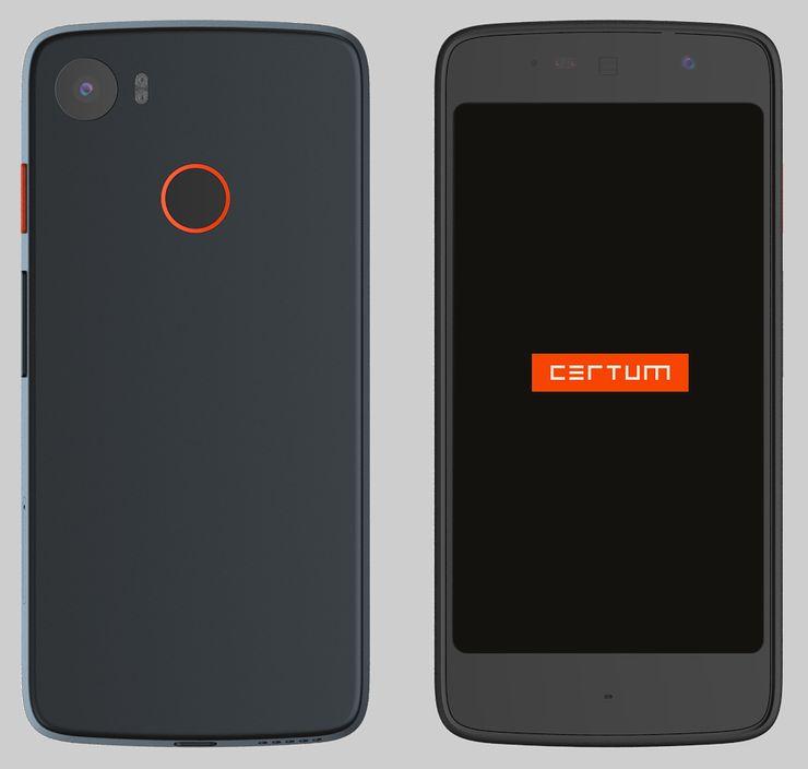 Tällainen Certum Phonesta on tulossa. Etupuolella karkeasti noin viisituumainen näyttö, takana sormenjälkilukija sekä kamera kuvausvalon kera.