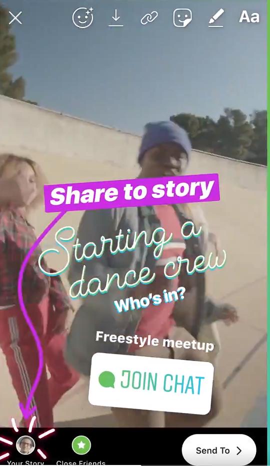 Instagramin Chat-tarra tarinapäivityksessä.
