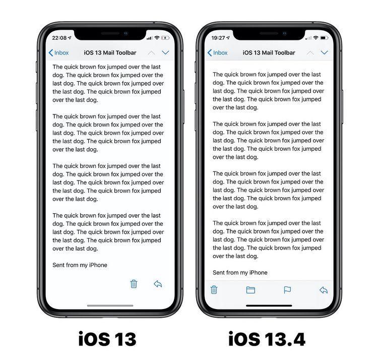 iOS 13.4 palauttaa Mail-sovelluksen alapalkin aiempaan ratkaisuun. Kuva: Benjamin Mayo.