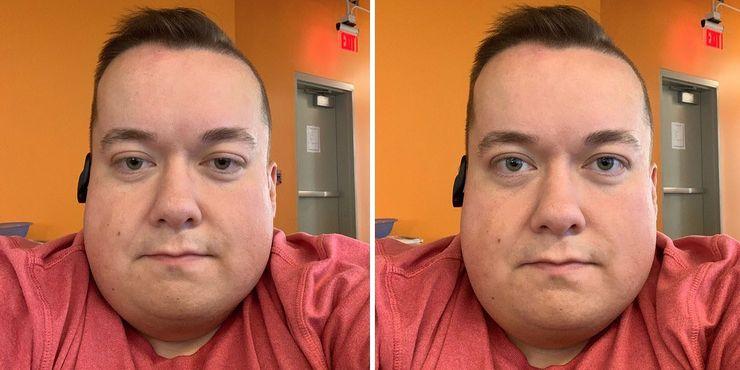 Vasemmalla todellinen kuva, oikealla ARKitin avulla muokattu kuva parannetulla katsekontaktilla. Kuva on peräisin Twitter-käyttäjä Will Sigmonilta.