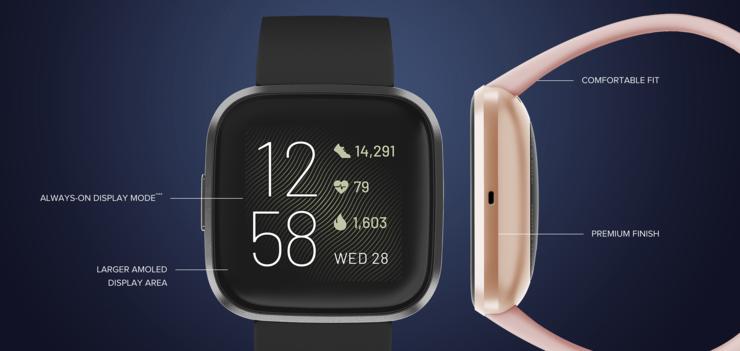 Fitbit Versa 2 on varustettu AMOLED-näytöllä ja mikrofonilla.