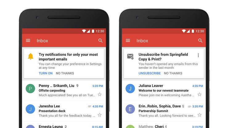 Gmail tunnistaa automaattisesti tärkeät viestit ja jatkossa esimerkiksi uutiskirjeet voi peruuttaa yhdellä painalluksella.