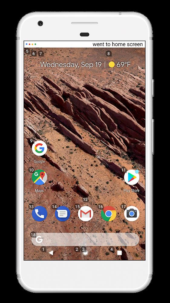 Android-kotinäyttö Google Accessia käytettäessä.