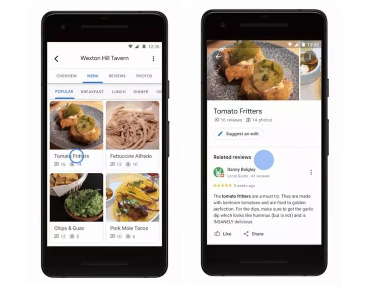 Menu-sivulta annoksia voi tarkastella tarkemmin. Google Maps näyttää muun muassa annoksista julkaistut kuvat ja arvostelut, jotka kääntyvät automaattisesti käyttäjän äidinkielelle.