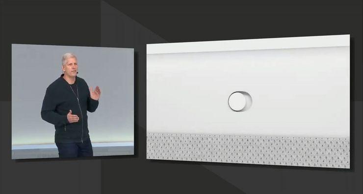 Nest Hub Maxin takaa löytyy fyysinen kytkin, jolla virran voi katkaista kamerasta ja mikrofonista.