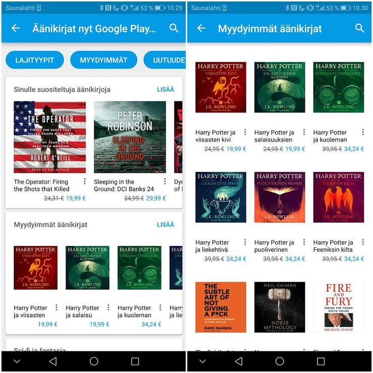 Äänikirjoja löytyy nyt Google Playsta.