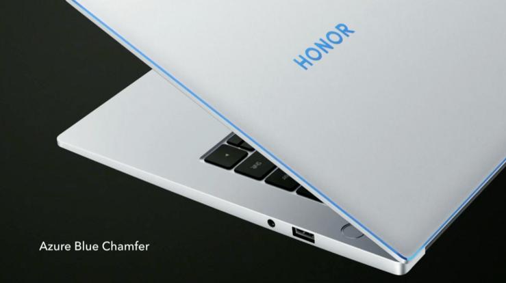 Honor MagicBook 14:n reunaa kiertää sininen tehostereunus.