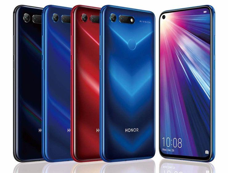 Honor View20:n kaikissa väreissä on tyylikäs ja vahvasti erottuva V-liukuväriefekti.
