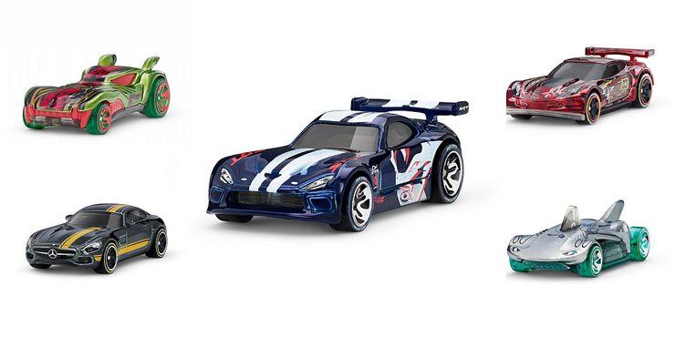 NFC-tunnistimella varustettuja Hot Wheels -autoja.