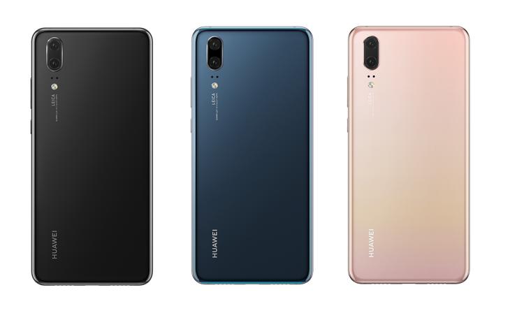Huawei P20:n värivaihtoehdot: musta, sininen ja Pink Gold.