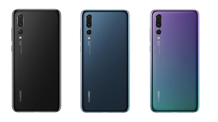 Huawei P20 Pron värivaihtoehdot: musta, Midnight Blue ja Twilight.