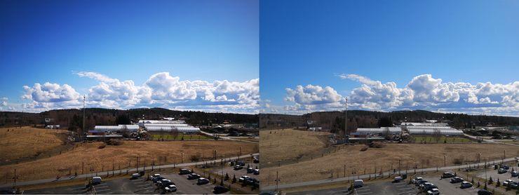 Vasemmalla tekoälyn Sinitaivas-tilalla otettu kuva ja oikealla perustilalla otettu kuva. Sinitaivas-tilassa niin taivaan sinisyyttä kuin muitakin värejä on korostettu.