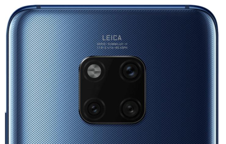 Huawei Mate 20 Pron kolme takakameraa ja LED-kuvausvalo.