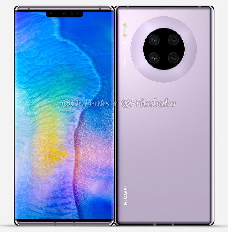 Huawei Mate 30 Pro. Kuva: OnLeaks / Pricebaba.