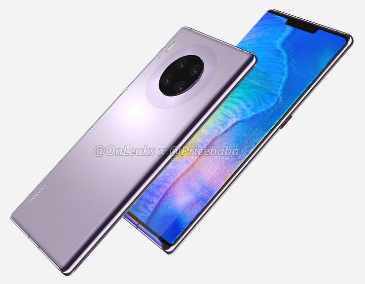 Huawei Mate 30 Pron designia hallitsee sen vesiputousnäyttö, leveä lovi näytön yläreunassa sekä pyöreä takakamera-alue. Kyljellä ei nähdä äänenvoimakkuuspainikkeita. Kuva: OnLeaks / Pricebaba.
