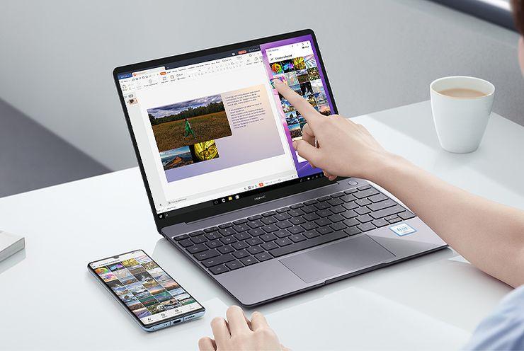 Huawei MateBook 13″ (2020). Uudet Huawei-läppärit tukevat myös Huawei Share -ominaisuuksia.