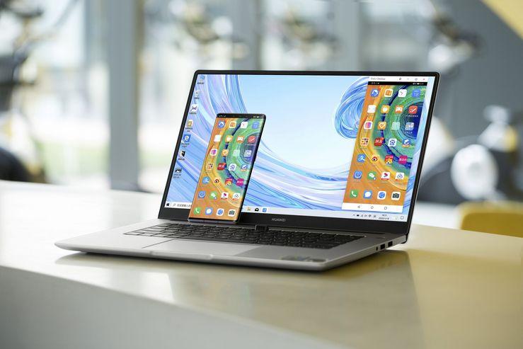 Älypuhelimen ruudun voi jakaa tietokoneen näytölle. Kuvassa MateBook D 15″.