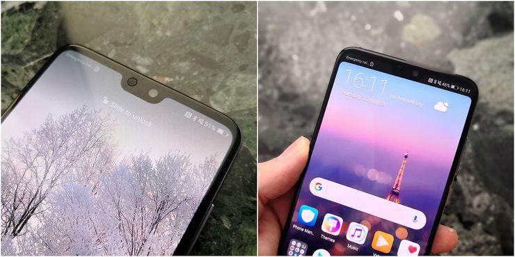Huawei P20 Prossa asetuksista voi valita, haluaako näytön loven piilottaa yläreunan mustalla tilapalkilla.